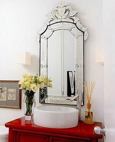 Pretty venetian beveled mirror for guest bathroom
