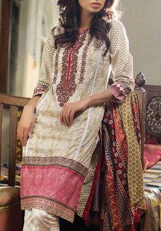 Buy Beige Embroidered Cotton Lawn Kurti by Orient 2016 https://www.pakrobe.com/Women/Clothing/Buy-Designer-Kurti-Online/OTL16-07b