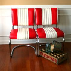 Mid Century Chairs. Pair Diner Red White. Stripes. Retro. Office Desk. Gameroom. Man Cave. Kitchen. Dining. Nautical. Classic. Preppy.