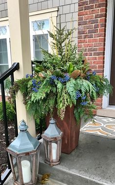 Winter Containers, 2017 Tis the season that arrives quickly with high demand and temperamental weather. Off we go, decorating local po. Christmas Window Boxes, Winter Window Boxes, Christmas Urns, Blue Christmas Decor, Christmas Front Doors, Christmas Greenery, Christmas Arrangements, Country Christmas, Christmas Wreaths