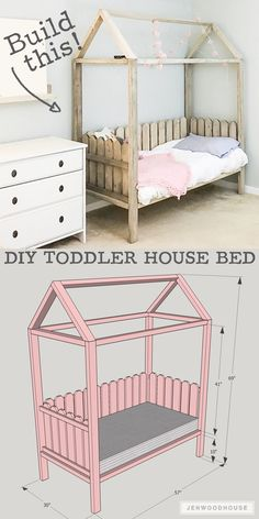 How to build a DIY Toddler House Bed – plans by Jen Woodhouse toddler crib bed Gone are the days when decorating was a one particular-and-co. Toddler House Bed, Toddler Rooms, House Beds For Kids, Toddler Trundle Bed, Kids Beds Diy, Toddler Bedding Girl, Diy Childrens Beds, Kids Bedroom Ideas For Girls Toddler, Diy Childrens Furniture