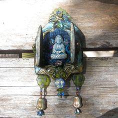 blue buddha portable pocket shrine  mixed media by dancingbeararts