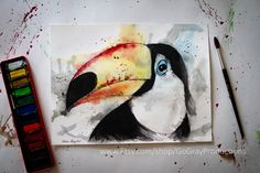 Watercolor Toco Toucan - Original 9x12 Fine Art Painting in Multicolor with Splash Art Mixed Media - Acrylic Pen and Ink & Water Color by GoGrayProductions on Etsy