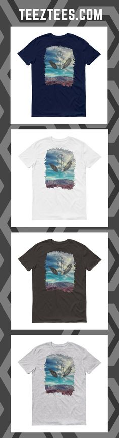 """The """"Feathers"""" design is printed on a beautifully thick cotton t-shirt. It's comfortable, soft, and its tubular construction means it's less fitted. Feather Design, New T, Feathers, Cotton, Mens Tops, T Shirt, Clothes, Products, Fashion"""