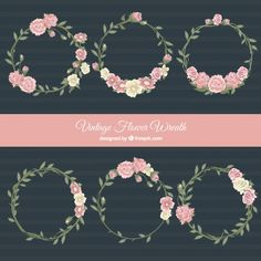 Pack of six floral wreaths in vintage style Free Vector
