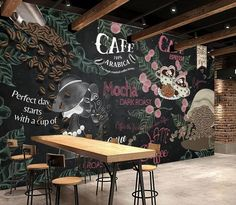 Coffee Wallpaper Coffee Beans Wall Mural Poster Hot Coffee Wall Decor Excellent Coffee Cafe Design M - Products - Coffee Shop Interior Design, Coffee Shop Design, Cafe Design, Mural Cafe, Cafe Wall, Arte Bar, Decoration Restaurant, Custom Wallpaper, Wall Wallpaper