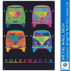 VW CAMPER NEON QUAD Metal Wall Sign by Red Hot Lemon