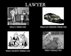 "My take on the What ""X"" Thinks job meme (and yes, I am a lawyer!)"