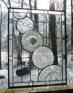 Crystal Cascade stained glass panel window. $195.00, via Etsy.