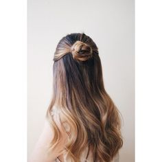 Balayage Hair Braided Half Bun ❤ liked on Polyvore featuring hair