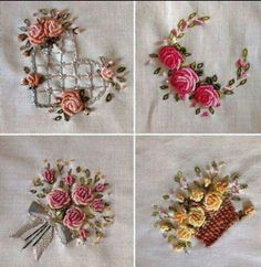 Wonderful Ribbon Embroidery Flowers by Hand Ideas. Enchanting Ribbon Embroidery Flowers by Hand Ideas. Bullion Embroidery, Brazilian Embroidery Stitches, Ribbon Embroidery Tutorial, Rose Embroidery, Learn Embroidery, Hand Embroidery Stitches, Silk Ribbon Embroidery, Hand Embroidery Designs, Embroidery Kits