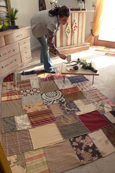throw rug from upholstery weight fabric scraps (find an old designer sample book) #1 pic