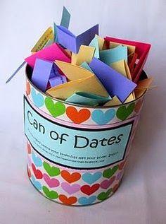 Have each guest write an idea for a date. Cute! #Geschenkidee