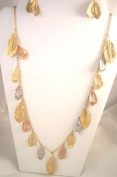 Vintage Napier Leaf Necklace and Earrings by bitzofglitz4u on Etsy, $15.00