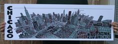 Image of Chicago Typography Aerial Skyline - 11.75