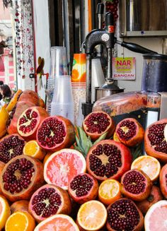 Pomegranate juice is a tart, refreshing drink available on the streets of Istanbul.