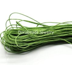 """DoreenBeads Lovely 80M(3149-5/8"""") Green Waxed Cotton Cord 1mm for Bracelet/ Necklace (B19330)"""