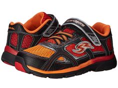 Stride Rite Racer Lights Lightning in Orange -  - Little Feet Childrens Shoes. #striderite #racerlights #orange #red #black #silver #boys #toddler #youth #lightupshoes #sneakers