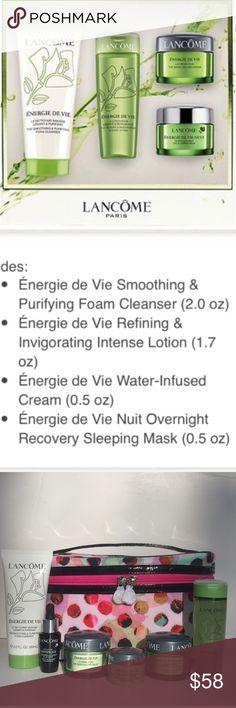 💚NEW!💚Lancome 7Pc Energie De Vie Skincare Set. 💚NEW!💚Lancome 7Pc Energie De Vie Skincare Set.  Includes:  1)  Energie De Vie Cleanser (2.0 oz)  2) Energie De Vie Day Cream (0.5oz)  3) Energie De Vie Eye Gel (0.20/6ml) 4) Energie De Vie Nuit (0.5oz)  5) Energie De Vie Intense Lotion Toner (1.7oz)  6) Advanced Genifique Serum (0.27oz/8ml)   7) Multi-Color Blk Patent Trimmed Train Case ALL BRAND NEW & UNTOUCHED!                      🚫Trades🚫Price Firm Unless Bundled Sephora Makeup Face…