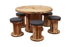 Mesa+taburetes de bobinas industriales