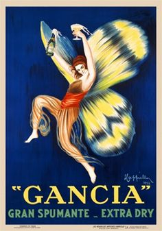Gancia Spumante poster by Cappiello 1922 Italian - Beautiful Vintage Poster Reproduction. This vertical Italian wine and spirits poster features a women with wings holding a bottle and glass of champagne. Gancia Gran Spumante Extra Dry Giclee Advertising