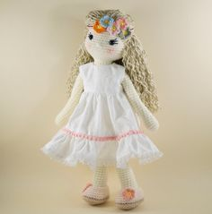 Amigurumi crochet doll - Sweet girl doll in a white dress and flowers in her hair