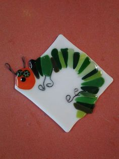 Very Hungry Caterpillar in fused glass