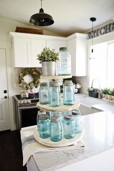 Make your own three tiered tray for any room in your home. This easy DIY is great for rustic farmhouse decor & cottage style kitchens.