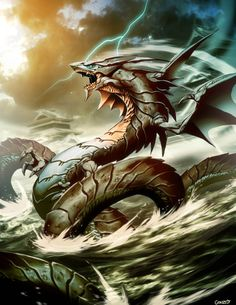 "Ryujin Dragon God by *GENZOMAN Ryujin or Ryojin (龍神, ""dragon god""?), also known as Owatatsumi, was the tutelary deity of the sea in Japanese mythology. This Japanese dragon symbolized the power of the ocean, had a large mouth, and was able to transform into a human shape. Ryūjin lived in Ryugu-jo, his palace under the sea built out of red and white coral, from where he controlled the tides with magical tide jewels. Sea turtles, fish and jellyfish are often depicted as Ryūjin's servants."