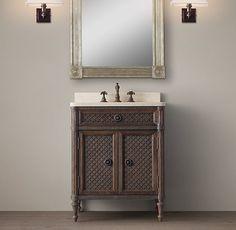 Designer Clothes, Shoes & Bags for Women Small Vanity, Single Sink Vanity, Vanity Sink, White Vanity, Louis Xvi, Downstairs Bathroom, Small Bathroom, Bathrooms, Master Bathroom