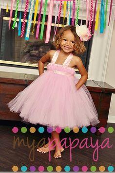 Princess Party Tutu Halter Dress Flower girl by MyaPapayaBoutique, $59.00