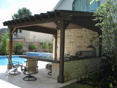 Pergola Attached To Roof Porch Wood, Wood Pergola, Pergola With Roof, Wood Patio, Patio Roof, Patio Awnings, Patio Privacy, Privacy Screens, Backyard Pavilion