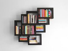 Accessories Ideas | Wall Bookshelves Advantages In Home Decor And Furnishing: Black Rectangular Wall Bookshelve Hang On White Wall For Inspiring Black And White Accent Wall Decor