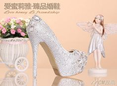 Love crystal wedding shoes diamond ultra high with thickening waterproof nightclub shoes bride wedding shoes