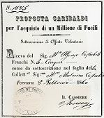 Receipt for Giuseppe Garibaldi's underwriting of a loan for the purchase of rifles, February 8, 1860. Expedition of the Thousand, Italy, 19th century. (http://www.gettyimages.com/detail/illustration/receipt-for-giuseppe-garibaldis-underwriting-of-loan-for-stock-graphic/163234272)