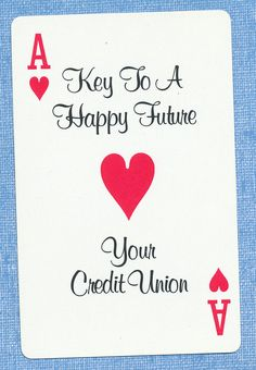Credit Union playing card single swap ace of hearts - 1 card