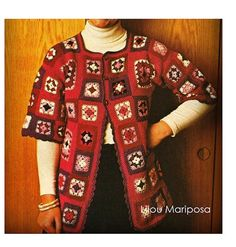 Crochet Pattern Vintage-70s Granny Squares Sweater Cardigan Pattern Coat Retro-Bohemian Clothing Crochet Cardigan Pattern
