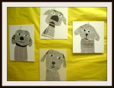 Fine Lines: Doggies Galore! See also the Cats Collage I pinned Newspaper Collage, Newspaper Crafts, Kindergarten Art, Preschool Art, 2nd Grade Art, Creation Art, Ecole Art, Dog Crafts, Art Lessons Elementary