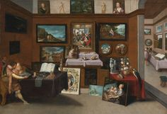 Frans Francken The Younger - The Interior of a Picture Gallery with Connoisseurs Admiring Paintings. Large HD