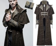 Long Coat, steampunk pirate spirit with its integrated small cape. In spirit denim fabric with inserts in faux leather. Decorated straps, embroidery and lacing. Because Punkrave clothes fit small, the better way to choose the size is to refer to the measurements. | eBay!