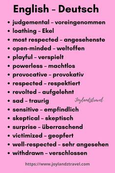 Daily Vocabulary, Vocabulary Words, English Vocabulary, English Phrases, Learn English Words, English Lessons, Study German, German English, German Grammar