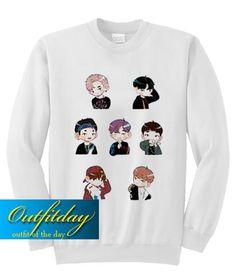 Animated BTS Sweatshirt Ez025 – outfitday Direct To Garment Printer, Graphic Sweatshirt, T Shirt, Shirt Style, Animation, Bts, Sweatshirts, Clothing, Color