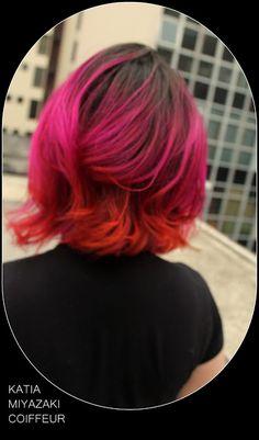 Katia Miyazaki Coiffeur - Salão de Beleza em Floripa: sunset hair -  rosa escuro - violeta - laranja - h...