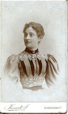 Beautifully attired Victorian woman, c. 1893 - 1895, Hungary. #Victorian #portrait #fashion