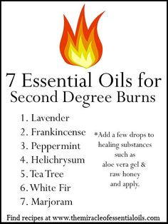 essential oils for second degree burns