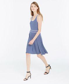 Ann Taylor Petite Tipped Tile Print Dress