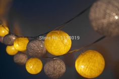 Image result for cotton ball lights yellow and grey