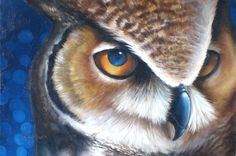Night Owl Acrylic Painting | Great Horned Owl by ~ twinkletinker