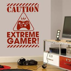 Gamer Decal Caution Extreme Gamer Vinyl Decals  ✔ CHOOSE YOUR SIZE - Approx. 25Tx18W - Approx. 31Tx22W  ☎ Need another size? Just ask! ✔ CHOOSE YOUR COLOR Pick your favorite color in the drop down box to the right.  ✔ TURN-AROUND-TIME Your item is made to order so give it 3-5 business days to ship. You will receive tracking information when it goes out. ✔ WHATS IN THE BOX? - High quality vinyl in a beautiful matte finish - Easy to follow application instructions - Test decal - Application…