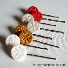Christmas Hair Pins by Adrianne from Happy Hour Projects! You can create your own custom hair pins using different mediums like clay or metal blanks for any occasion.